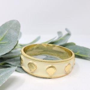 LILLY PULITZER Cream Gold Enamel Bangle Bracelet